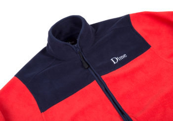 dime-polar-fleece-full-zip-red-navy-close-up